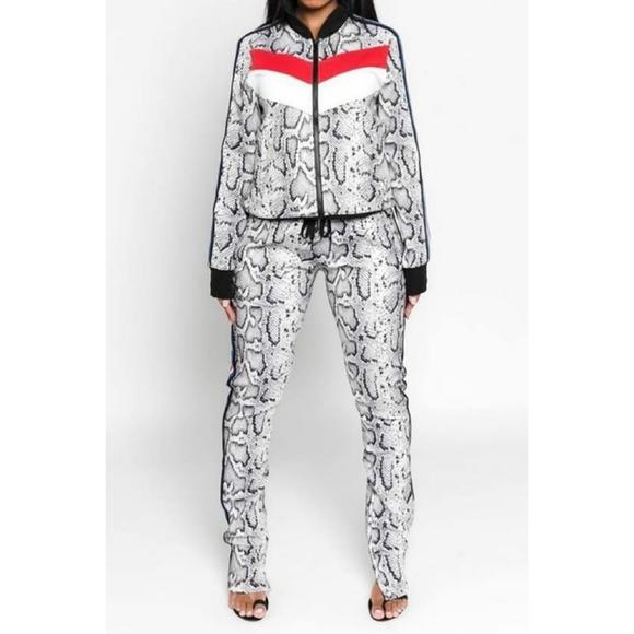 ultrachicfashion.com Jackets & Blazers - Snakeskin Pants Set